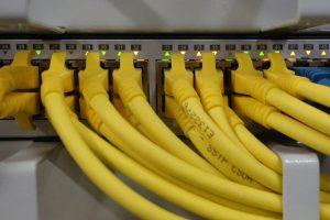 Netzwerkkabel auf einem Switch